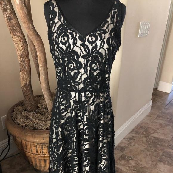 Tahari Blackcream Lace Dress